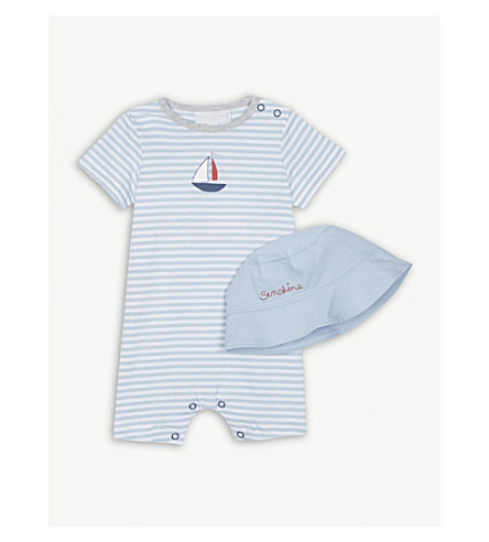 THE LITTLE WHITE COMPANY Seaside cotton babygrow and bucket hat 0-24 months (Blue