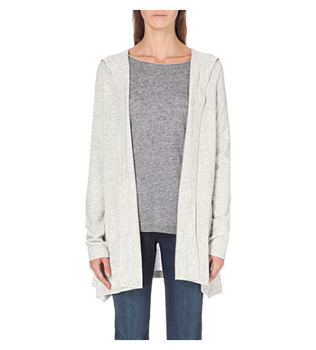 THE WHITE COMPANY Hooded wool cardigan (Pale+grey+marl