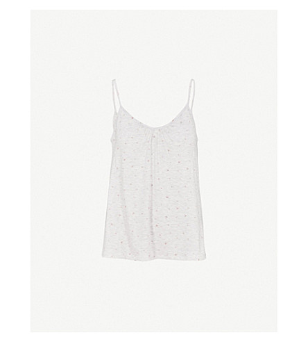 THE WHITE COMPANY Rosebud-printed jersey top (Cloud+marl