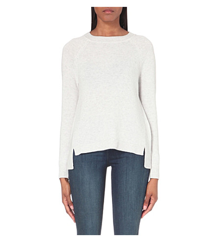THE WHITE COMPANY Rib panel back split sweater (Pale+grey+marl