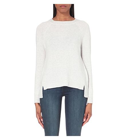 THE WHITE COMPANY Rib panel back split sweater (Pale+grey+marl