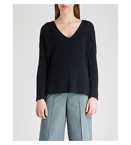 THE WHITE COMPANY Relaxed-fit cotton and wool-blend jumper (Navy