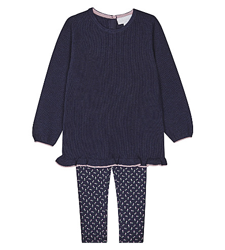 THE LITTLE WHITE COMPANY Jumper and leggings set 0-24 months (Navy