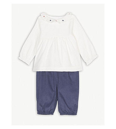 THE LITTLE WHITE COMPANY Ruffled top and corduroy bottoms cotton set 0-24 months (Multi