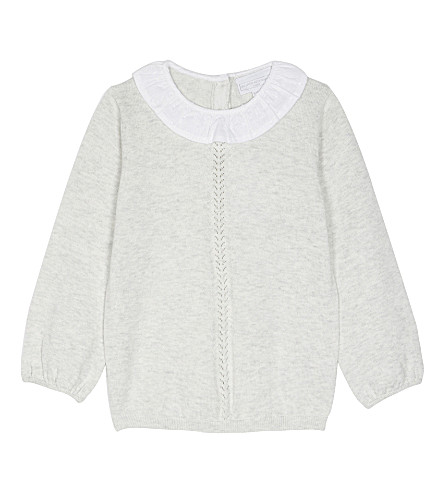 THE LITTLE WHITE COMPANY Ruffle collar cotton jumper 0-24 months (Ecru