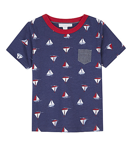 THE LITTLE WHITE COMPANY Sail boat cotton T-shirt 1-6 years (Multi