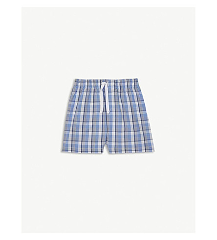 THE LITTLE WHITE COMPANY Sailing check cotton shorts 1-6 years (Blue