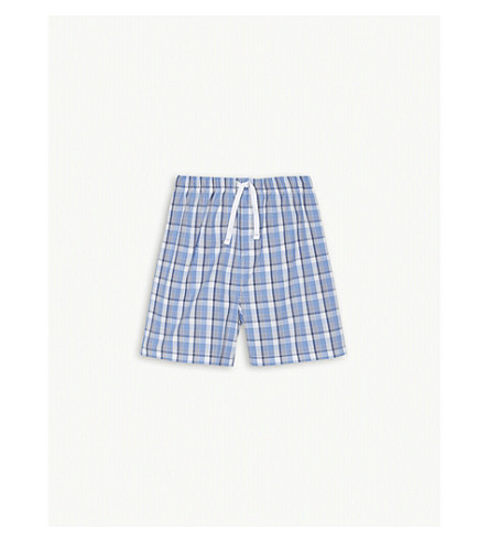 THE LITTLE WHITE COMPANY Check poplin cotton shorts 7-12 years (Blue