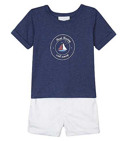 THE LITTLE WHITE COMPANY Sailing boat print cotton T-shirt and shorts set 1-6 years (Multi