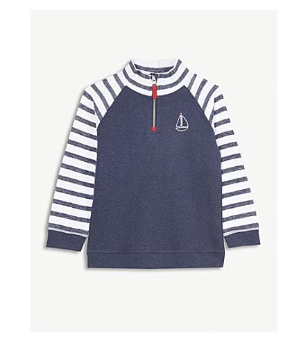 THE LITTLE WHITE COMPANY Sailboat half-zip cotton sweatshirt 1-6 years (Navy