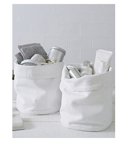 THE WHITE COMPANY Folded Cuff canvas storage baskets set of two (White