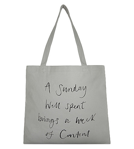 THE WHITE COMPANY 'A sunday well spent' canvas shopper (Grey