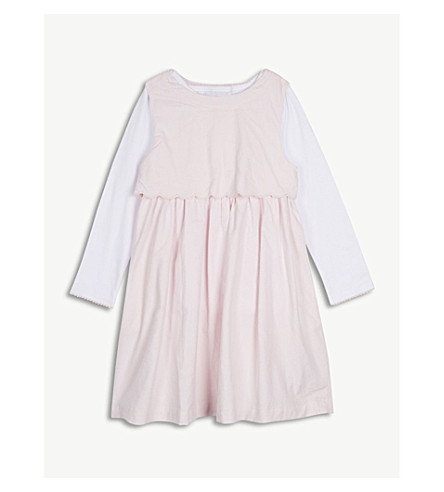 THE LITTLE WHITE COMPANY Scallop trim cotton cord dress set 1-6 years (Whisper+pink