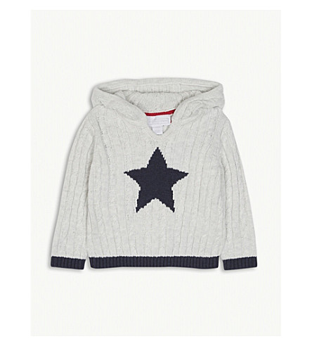 THE LITTLE WHITE COMPANY Star motif cable-knit hoody 0-24 months (Ecru