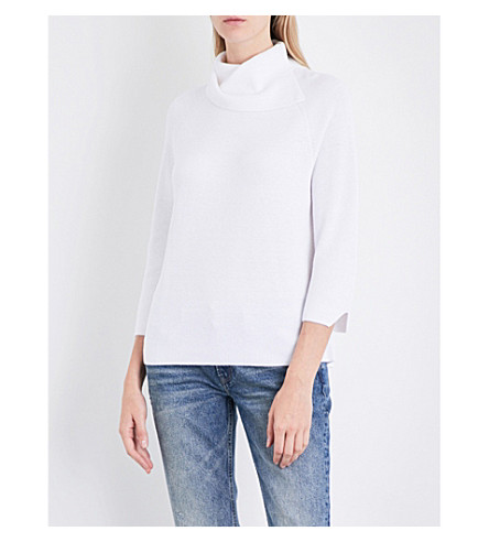 THE WHITE COMPANY Split turtleneck cotton-blend jumper (Porcelain