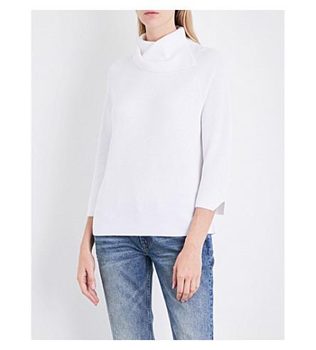 THE WHITE COMPANY Split turtleneck cotton-blend jumper (Porcelain