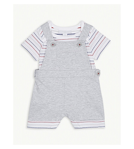THE LITTLE WHITE COMPANY Dungaree & stripe cotton bodysuit set 0-24 months (Mixed/multi