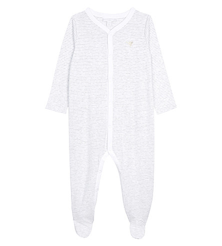 THE LITTLE WHITE COMPANY Striped cotton baby grow 0-24 months (White/grey