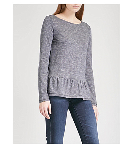 THE WHITE COMPANY Striped peplum-hem cotton and wool-blend top (Navy