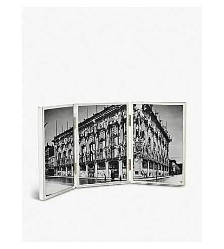 THE WHITE COMPANY Triple Aperture Hinged silver-plated stainless steel photo frame 4x6