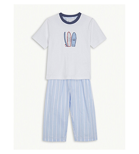 THE LITTLE WHITE COMPANY Surfboard cotton pyjamas 1-6 years (Multi
