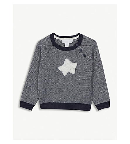 THE LITTLE WHITE COMPANY Starfish knitted cotton jumper 0-24 months (Navy