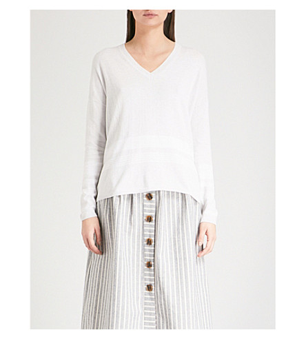 THE WHITE COMPANY Striped-hem knitted jumper (Cloud+marl