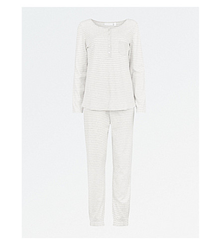 THE WHITE COMPANY Henley cotton-jersey pyjama set (Cloud+marl