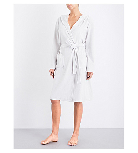 THE WHITE COMPANY Hooded velour robe (Silver+grey
