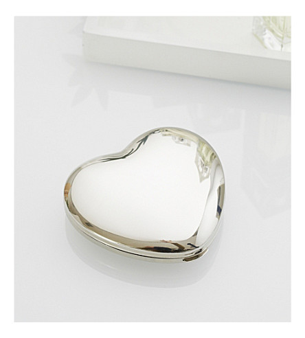 THE WHITE COMPANY Sterling silver-plated heart compact (Silver