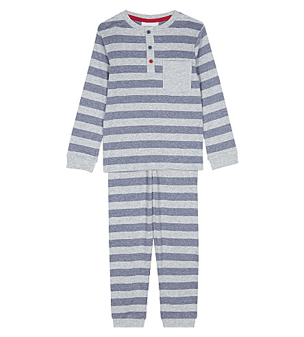THE LITTLE WHITE COMPANY Striped Henley cotton pyjamas 1-6 years (Multi