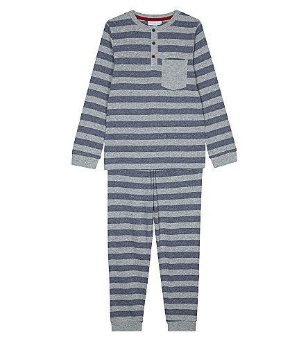 THE LITTLE WHITE COMPANY Henley striped cotton pyjamas 7-12 years (Multi