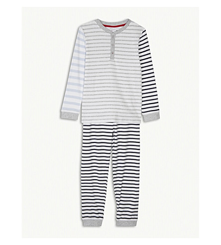 THE LITTLE WHITE COMPANY Henley striped cotton pyjamas 1-6 years (Multi