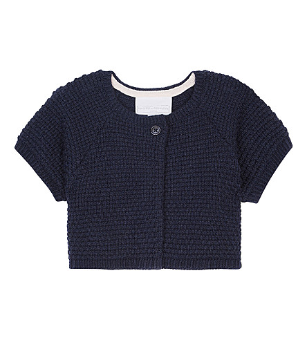 THE LITTLE WHITE COMPANY Short sleeved stitch detail cotton cardigan 1-6 years (Navy
