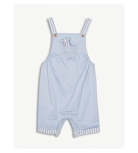 THE LITTLE WHITE COMPANY Stripe cotton dungarees and toy set 0-24 months (Blue