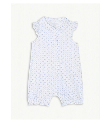 THE LITTLE WHITE COMPANY Floral heart print cotton sleepsuit 0-24 months (White