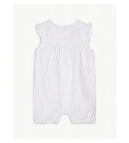 THE LITTLE WHITE COMPANY Broderie anglaise cotton shortall 0-24 months (White