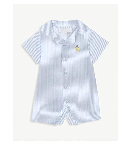 THE LITTLE WHITE COMPANY Pinstripe seersucker cotton bodysuit 0-24 months (Blue