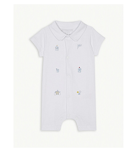 THE LITTLE WHITE COMPANY Embroidered cotton shortall 0-24 months (White
