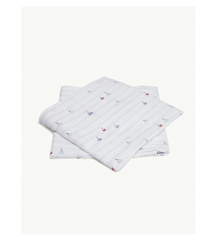 THE LITTLE WHITE COMPANY Sailboat print muslins set of two (White
