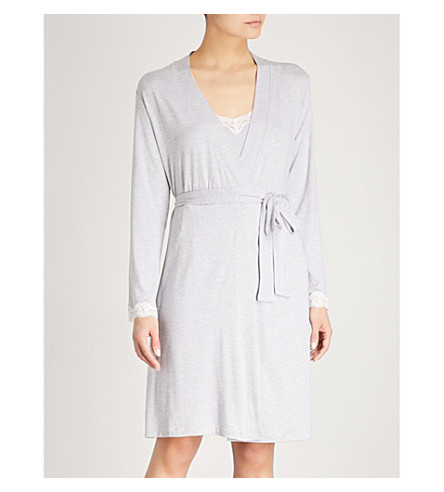 THE WHITE COMPANY Lace trim jersey dressing gown (White/grey