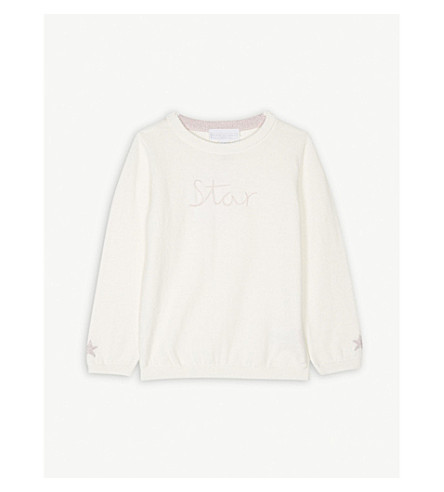 THE LITTLE WHITE COMPANY Star embroidered jumper 1-6 years (White