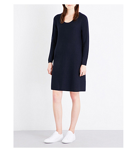 THE WHITE COMPANY Scoop-neck knitted dress (Navy