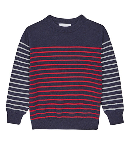 THE LITTLE WHITE COMPANY Striped cotton jumper 1-6 years (Navy
