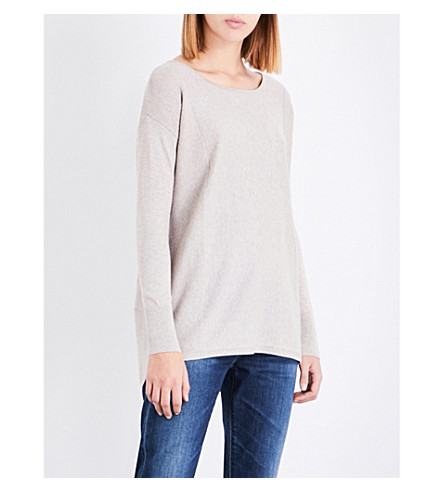 THE WHITE COMPANY Boat-neck cotton-blend jumper (Taupe+marl