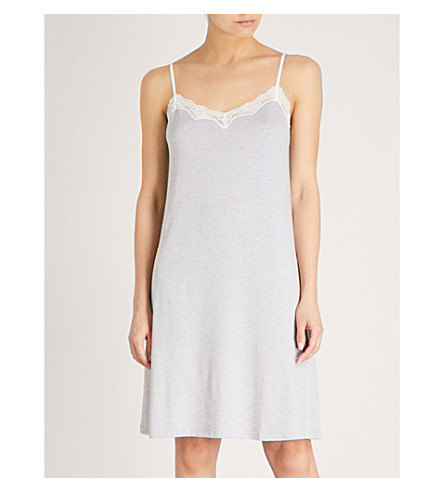 THE WHITE COMPANY Lace trim cotton nightdress (White/grey