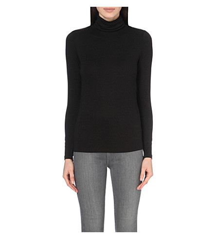 THE WHITE COMPANY Turtleneck jersey top (Black