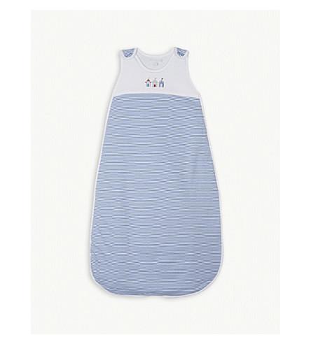 THE LITTLE WHITE COMPANY Beach hut cotton sleeping bag 1.0 tog (Blue