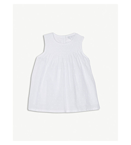 THE LITTLE WHITE COMPANY Embroidered dotted cotton smock dress 0-24 months (White