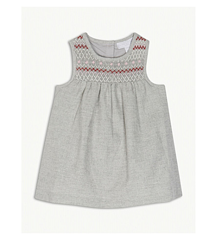 THE LITTLE WHITE COMPANY Embroidered cotton smocked pinafore dress 0-24 months (Grey